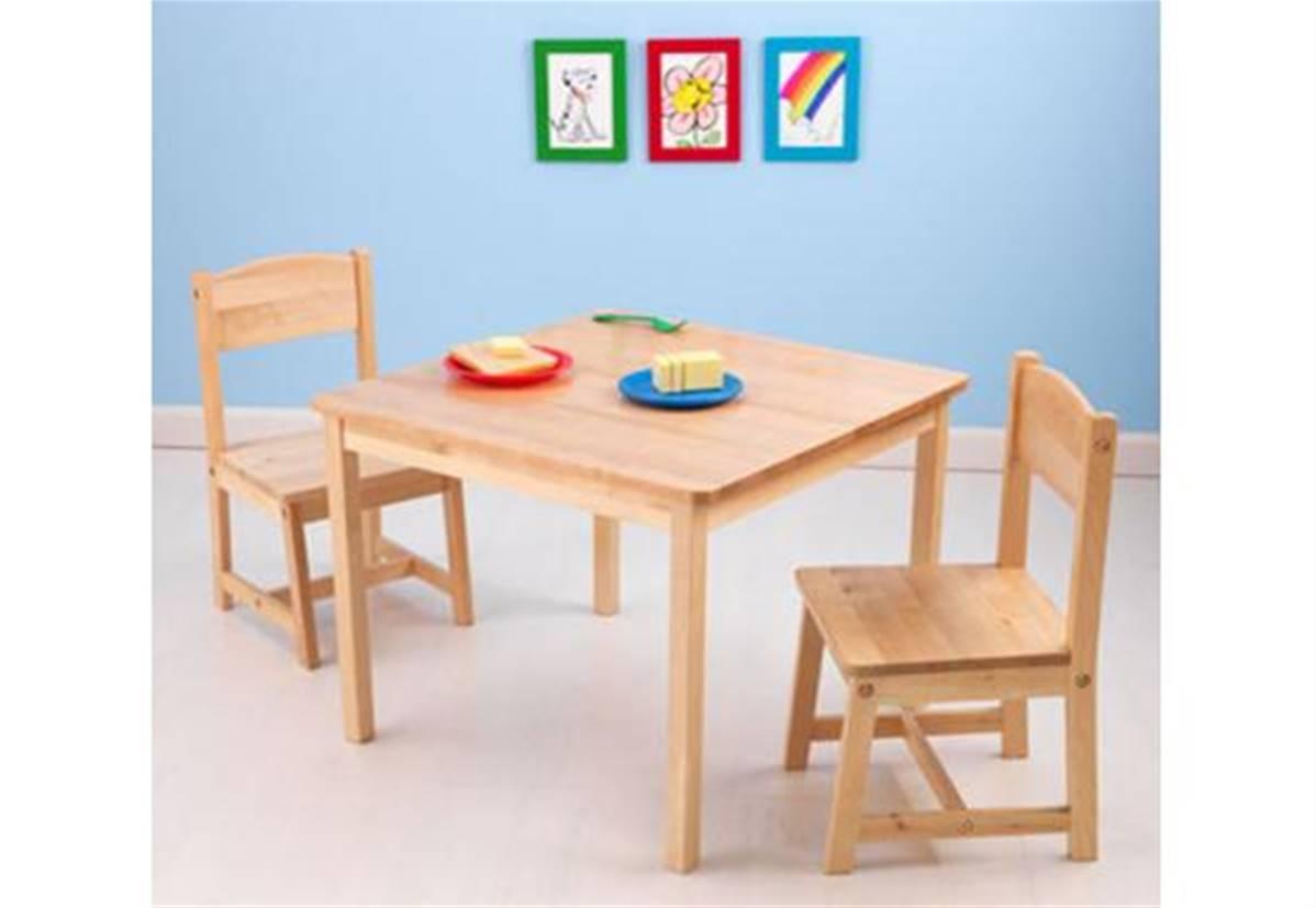 Ensemble table et 6 chaises bois naturel pour enfant