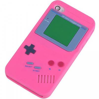 Coque etui silicone décor Game Boy Rose pour Apple iPhone 4/4S