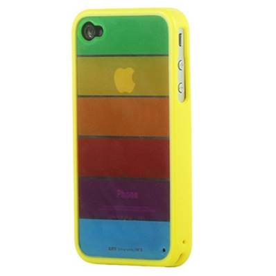 Housse semi rigide MiniGel Arc en Ciel contour jaune pour Apple iPhone 4