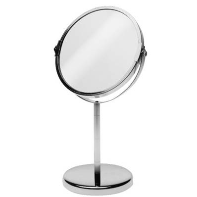 Miroir à maquillage grossisant en metal chromé