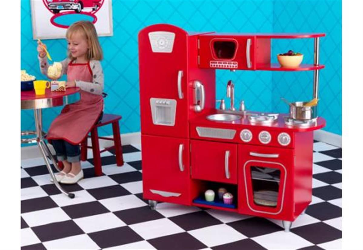 Cuisine Enfant Dinette Haut De Gamme Vintage Rouge